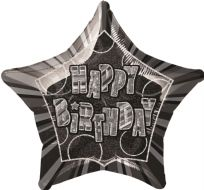 "Glitz 20"" Star Balloon Black & Silver - Happy Birthday"
